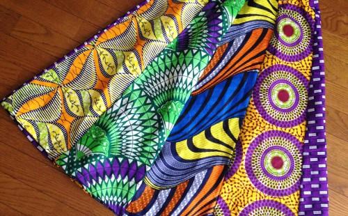 アフリカンプリントのカット生地40cmx110cm5枚で作るスカート